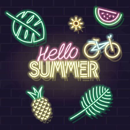 Neon hello summer big fluorescent text with glowing icons of exotic fruits, leafs, bicycle on brick wall background. Poster fod bar, social network post, banner or advertisement concept Ilustrace