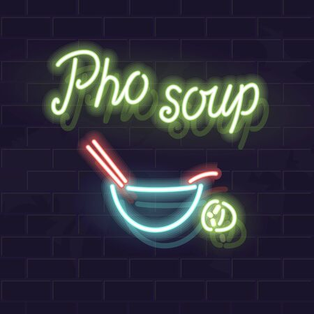 Neon pho bo typography with icon for bar sign . Oriental bowl of traditional vietnamese soup. Isolated illustartion on dark brick wall background for menu,  poster.
