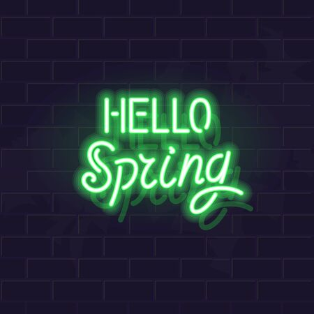 Hello spring neon typography. Fluorescent isolated vector handwritten letters for any dark background.