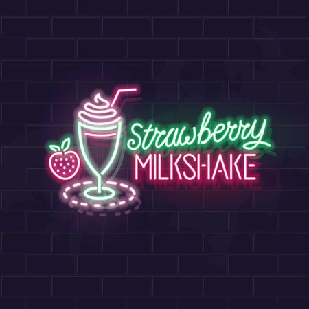 Neon strawberry milkshake typography and icon. Vector isolated neon illustration for any dark background. Fluorescent line art icon for menu, poster, social network post.