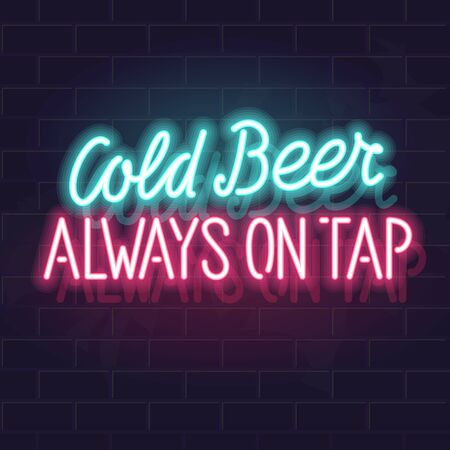 Neon cold beer typography. Isolated vector glowing handwritten lettering on brick wall background. Square illustration for social network, poster.
