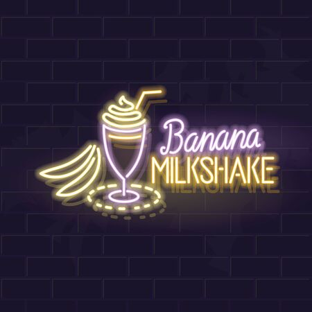 Neon banana milkshake typography and icon. Vector isolated neon illustration for any dark background. Fluorescent line art icon for menu, ,poster, social network post.