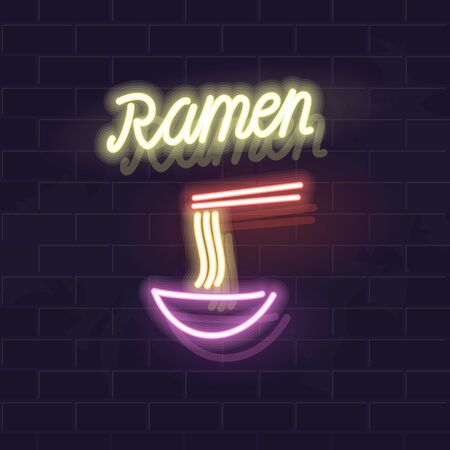 Ramen typography with icon. Traditional japanese soup with chopsticks. Glowing vector isolated illustration for any dark background. Ilustrace