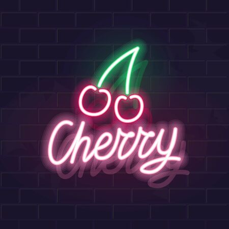Neon cherry icon. Vector isolated neon illustration for any dark background. Ilustrace