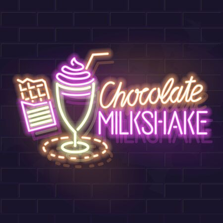 Neon chocolate milkshake typography and icon. Vector isolated neon illustration for any dark background.