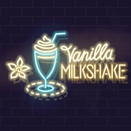 Neon vanilla milkshake typography and icon. Vector isolated neon illustration for any dark background.
