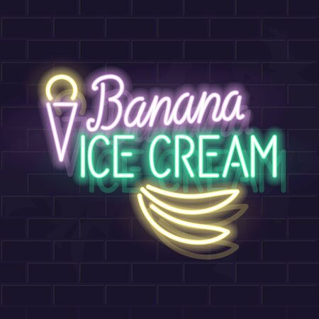 Neon banana ice cream typography with icons. Vector isolated neon illustration for any dark background.