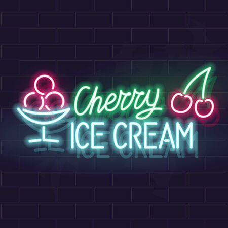 Neon cherry ice cream typography with icons. Vector isolated neon illustration for any dark background. Ilustrace