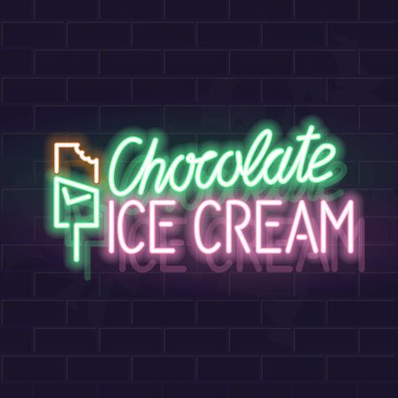 Neon chocolate ice cream typography with icons. Vector isolated neon illustration for any dark background. Ilustrace