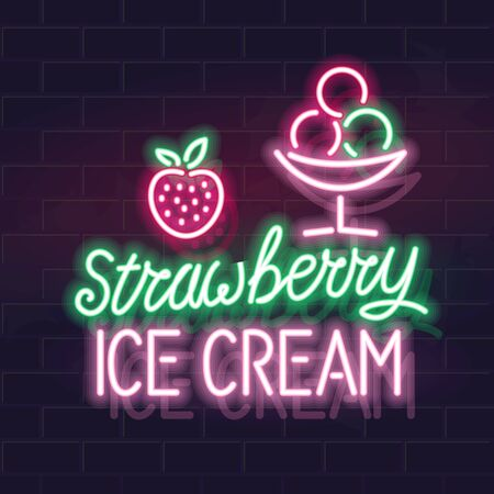 Neon strawberry ice cream typography with icons. Vector isolated neon illustration for any dark background. Ilustrace