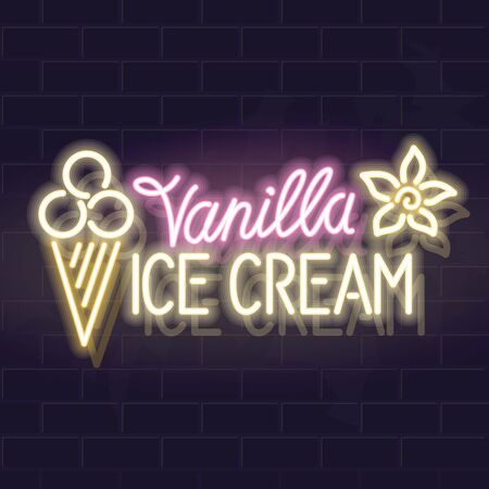Neon vanilla ice cream typography with icons. Vector isolated neon illustration for any dark background.