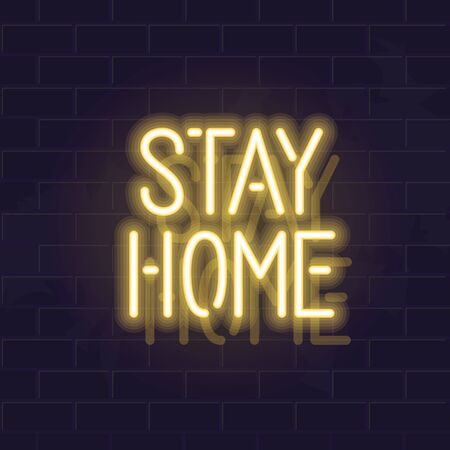 Neon stay home typography. Glowing vector motivation typography. Fluorescent letters on dark brick wall background
