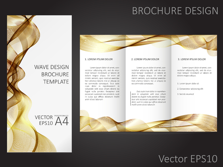 proportional: Brochure template with abstract waves design. Proportional to A4. Illustration