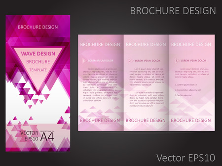 proportional: Abstract vector Brochure, Booklet Layout Design template with colorful geometric triangular background. Proportional to A4 Illustration