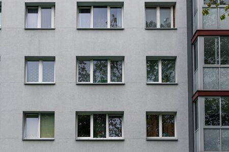 Facade of social housing in a residential area of ​​the city. Close-up.