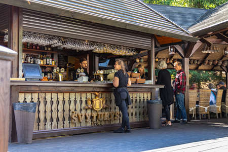 06-13-2020. Vilnius, Lithuania.  Wooden summer cafe in a city park. Editorial