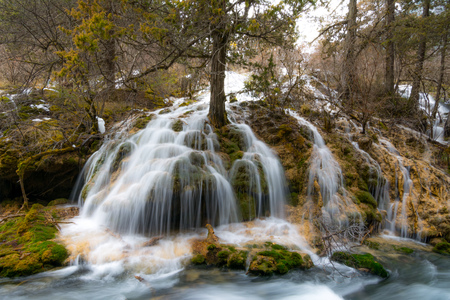 defrost: Waterfall in the mountains. The defrost water runs over the rocks. Water flowing over rocks and moss and trees. Water flowing waterfall on a slope