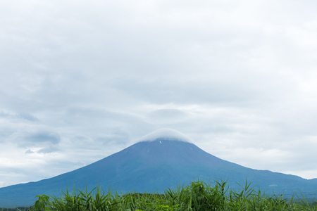 View of the Fuji mountain from the shore. Japan
