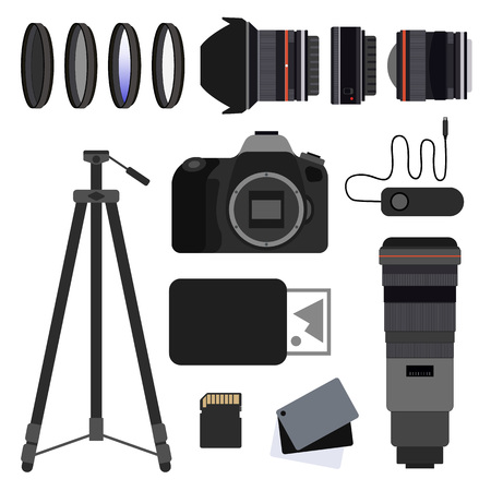 Photo equipment set flat vector illustration. DSLR,Tripod,Balance grey cards,Memory card,Wife angle lens, Pancake lens,Super telephoto lens,Portable printer,UV filter,ND filter,Remote shutter release