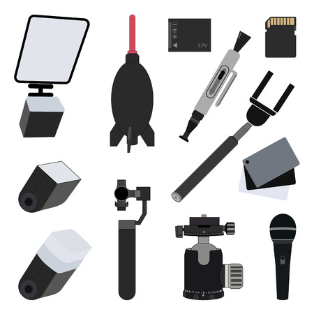 Photo equipment set flat vector illustration. Battery, Microphone, Ballhead, Gimbal, Lens pen, Memory card, Monopod, Balance grey cards, Flash diffuser, Blower, Light reflector, Flash diffuser Illustration