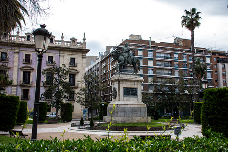 Jaime Conquistador on horseback, monument in the middle of the square. Monument to Jaime Conquistador in Valencia, Spain. Statue in park