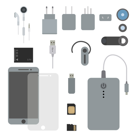 Phone accessories set flat vector illustration. Concept kit for a smart phone. Mobile, uk, us, eu, au plug, headphones, accumulator, paverbank, micro SD card, sim card, headset, lens, protective film.