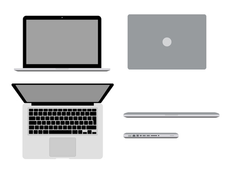 MacBook Pro in different positions Vector illustration. Open macbook, closed, in profile and top view. Modern computer mockup concept
