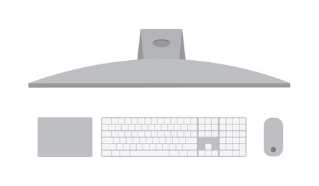 Computer pc, top view of a MacBook with an apple. White keyboard, removable touchpad and mouse.Vector illustration. Modern computer mockup concept Illustration