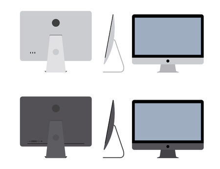 Computer pc, pro top view of a monoblock computer. Conception of professional equipment, monitor, workstation. Modern computer mockup concept. The computer is from different sides. Illustration