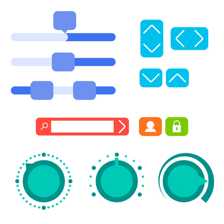 Interface element, flat vector illustration. User interface elements set for prototyping. UI flat kit. Parameter slider, search, change of magnitude round control element