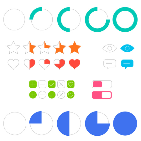 Icons of the interface element, vector illustration. User interface elements set for prototyping.