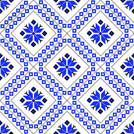 Seamless pattern flat vector illustration, geometric ornament, ethnic creativity, a concept for printing on fabric and paper. Blue diamonds 일러스트