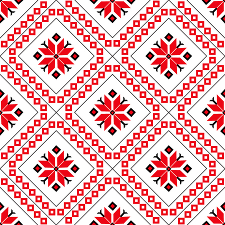 Seamless pattern flat vector illustration, geometric ornament, ethnic creativity, a concept for printing on fabric and paper. Red diamonds 일러스트