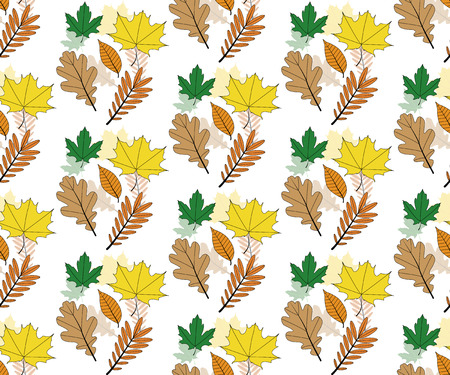 Seamless autumn leaves pattern vector illustration. Colored autumn leaves, pattern for printing on fabric and paper.