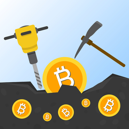 Cryptocurrency concept flat vector illustration. Bitcoin digital money. ryptocurrency production process. Production of the coins from the earth hammer and pickaxe. Bitcoin mining 일러스트