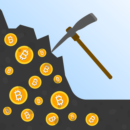 Cryptocurrency concept flat vector illustration. Bitcoin digital money. ryptocurrency production process. Production of the coins out of the ground with a pick. Bitcoin mining
