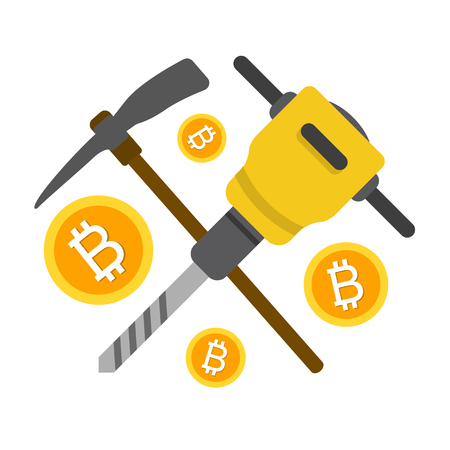 Cryptocurrency concept flat vector illustration. Bitcoin digital money. ryptocurrency production process.  Icon, pickaxe and jackhammer with coins.