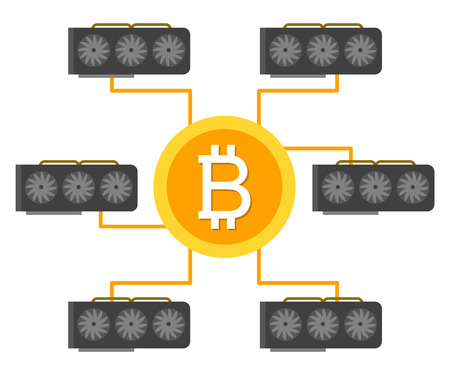 Cryptocurrency concept flat vector illustration. Bitcoin digital money. ryptocurrency production process. Video cards produce money, mining rig. Bitcoin mining