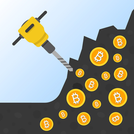 Cryptocurrency concept flat vector illustration. Bitcoin digital money. ryptocurrency production process. Production of the coins from the ground jackhammer. Bitcoin mining