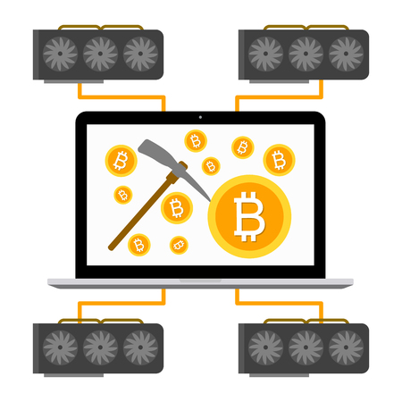 Cryptocurrency concept flat vector illustration. Bitcoin digital money. ryptocurrency production process. Video cards produce money, mining rig