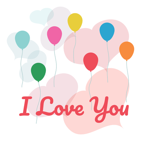 I Love You greeting card flat vector illustration. Concept poster with balloons and hearts. Postcard for congratulations and confessions of love.