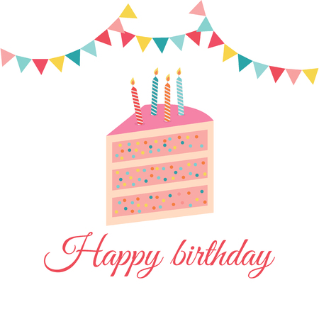 Birthday card flat vector illustration. Happy Birthday greeting card. Cake with candles, concept for a holiday and invitation card.