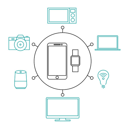 House management via phone, smart home, iot flat vector illustration. Concept of the Internet of things, elements of a smart home. Management of temperature, technology, safety, monitoring of systems