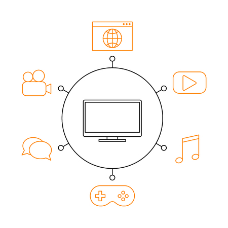 Smart TV, smart home, iot flat vector illustration. Concept of the Internet of things, elements of a smart home. Smart and modern TV functions. 일러스트