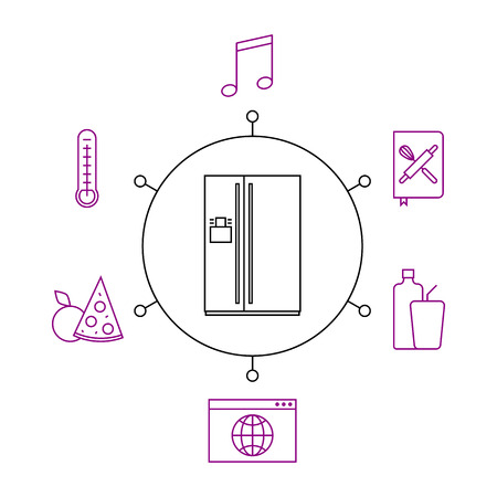 Smart refrigerator, smart home, iot flat vector illustration. Concept of the Internet of things, elements of a smart home. Smart and modern refrigerator functions.