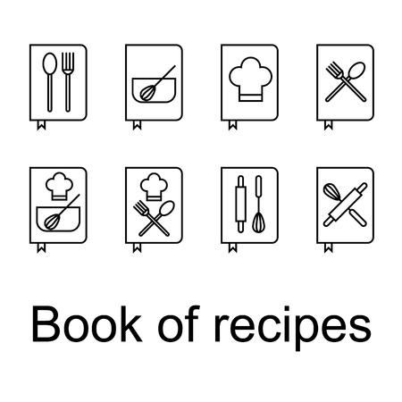 Recipe Book, Recipes, CookBook icons set, flat line illustration. Set of recipe book icons. Books with a description of cooking. Spoon, fork, rolling pin, whisk, cooking cap. 일러스트