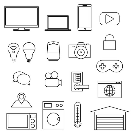 Vector line icons, set of internet of things. Concept of smart home icons, IOT. Simple icons of technology, protection, control, communication.