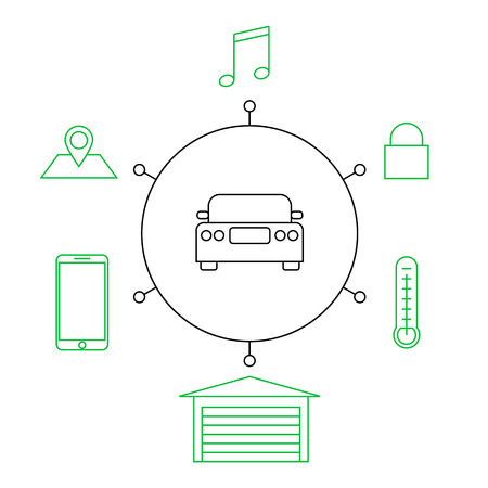 Smart car, smart home, iot flat vector illustration. Concept of the Internet of things, elements of a smart home. Smart and modern car functions.