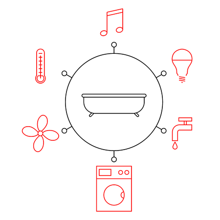 Smart bathroomr, smart home, iot flat vector illustration. Concept of the Internet of things, elements of a smart home. Manage the functions in the bathroom through the phone.