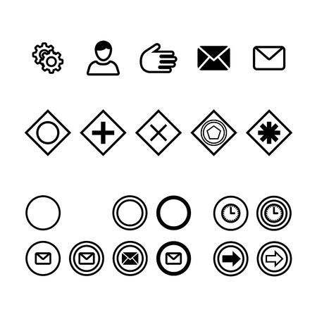 Icons for business process diagrams flat vector illustration. Icons for notation bpmn. Concept for actions and processes. Icons of actions, messages, time, participants.